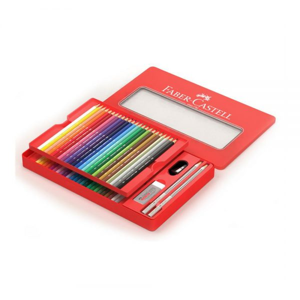 Creioane colorate 48 culori si 4 accesorii cutie metal Faber-Castell