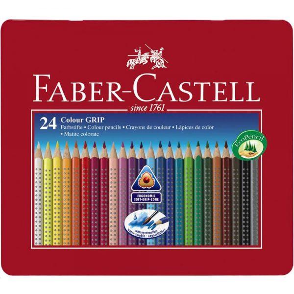 Creioane colorate 24 culori/set FABER-CASTELL Grip 2001, cutie metal