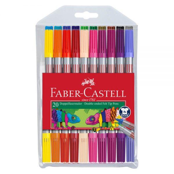 Carioci cu 2 capete, 20 culori/set, Faber-Castell