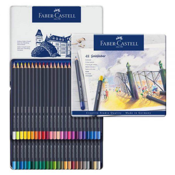 Creioane colorate 48 culori Goldfaber cutie metal Faber-Castell