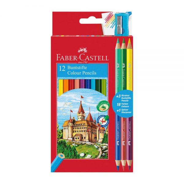 Creioane colorate eco12+3 culori, FABER-CASTELL