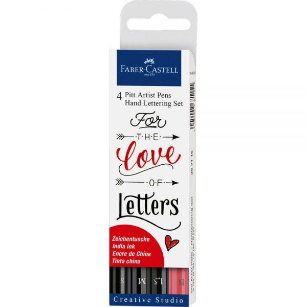 Marker caligrafie FABER-CASTELL Pitt Artist Pen, 4 buc/set