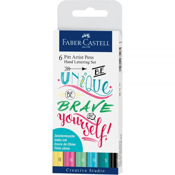 Marker caligrafie pastel FABER-CASTELL Pitt Artist Pen, 6 buc/set