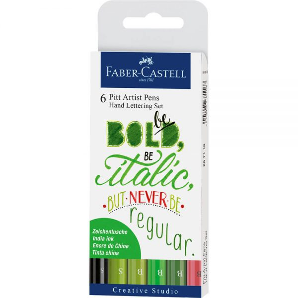 Marker caligrafic Pitt Artist Pen Verde 6 buc/set Faber-Castell