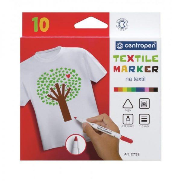 Markere pentru textile 10 culori/set CENTROPEN 2739