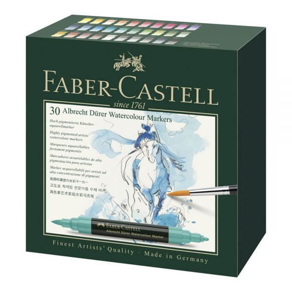 Markere 2 capete acuarela FABER-CASTELL Albrecht Durer Watercolour, 30 culori/cutie