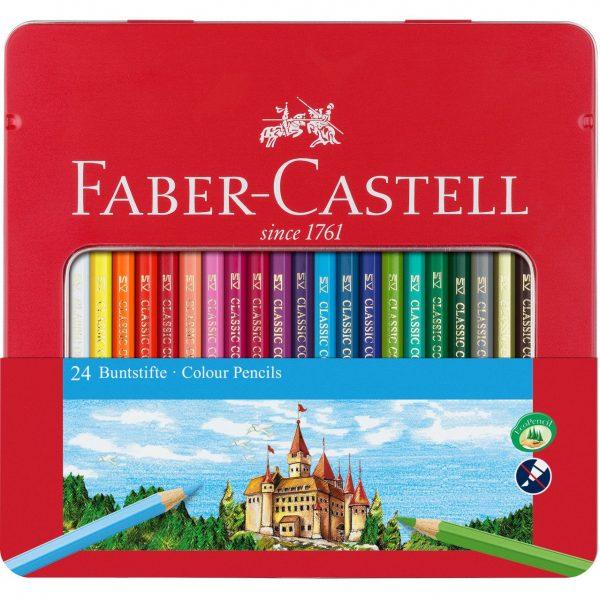 Creioane colorate 24 culori cutie metal, Faber-Castell