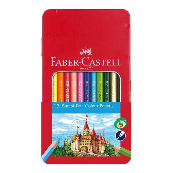 Creioane colorate 12 culori/set FABER-CASTELL cutie metal
