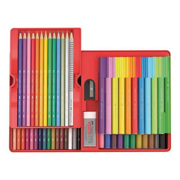 Set cadou carioci Connector si creioane colorate 53 buc, Faber-Castell