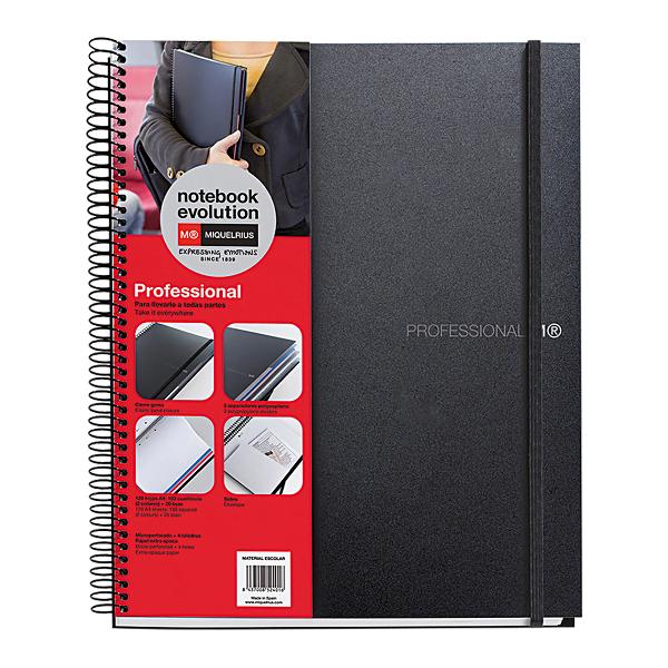 Caiet cu spira A4 matematica+velin, Miquelrius, Evolution, 120 file, coperta PP, negru