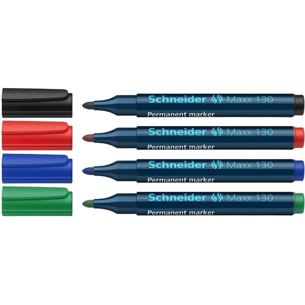 Marker permanent SCHNEIDER Maxx 130, 4 culori/set