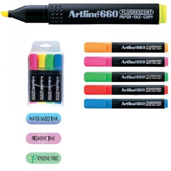 Textmarker fluorescent ARTLINE 660, 4 buc/set