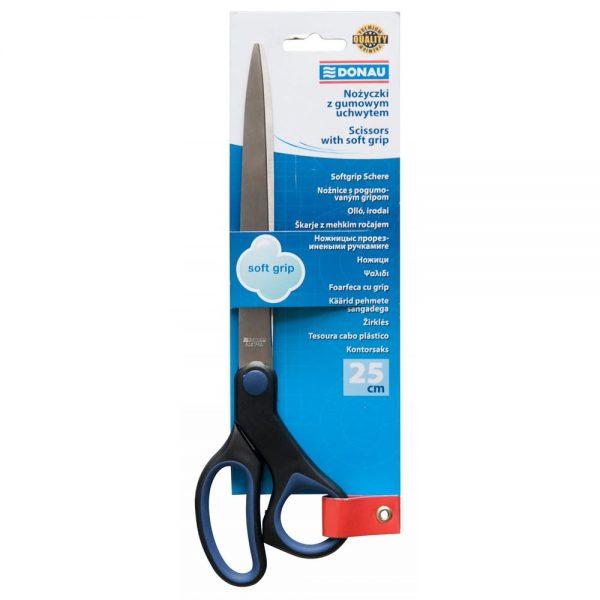 Foarfeca otel 25cm, ergonomica, cu rubber grip, DONAU Soft Grip - maner albastru