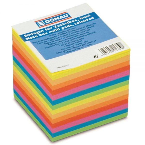 Cub hartie color 90x90x90mm, 700 file - lipite pe o latura, DONAU - hartie culori asortate