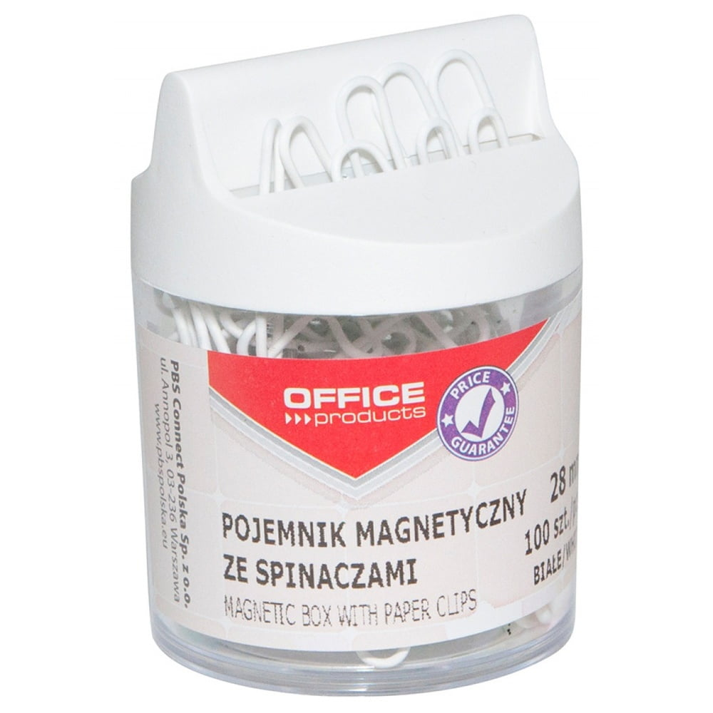 Dispenser magnetic echipat cu 100 agrafe, Office Products - alb