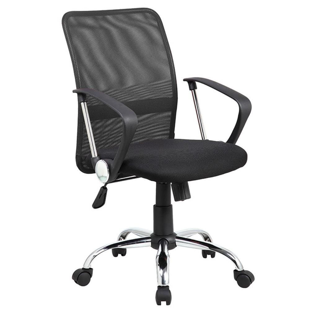 Scaun de birou cu brate din plastic, rotile, mesh textil/stofa, Office Products Lipsi - negru