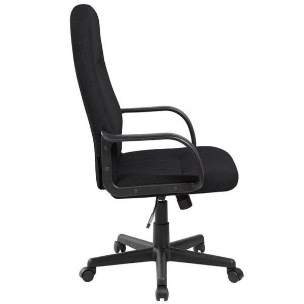 Scaun de birou cu brate din plastic, rotile, stofa, Office Products Malta - negru