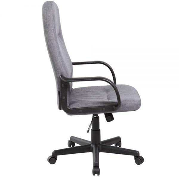 Scaun de birou cu brate din plastic, rotile, stofa, Office Products Malta - gri