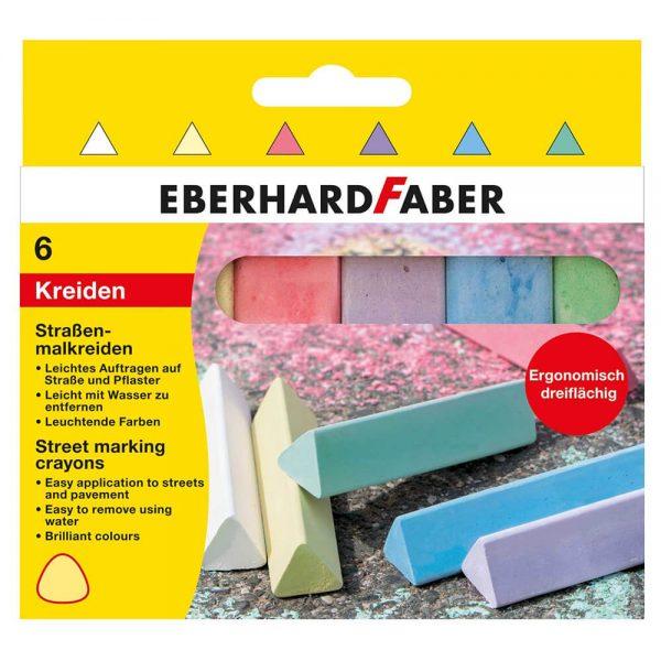 Creta colorata asfalt, triunghiulara, 6 buc/cutie EBERHARD FABER
