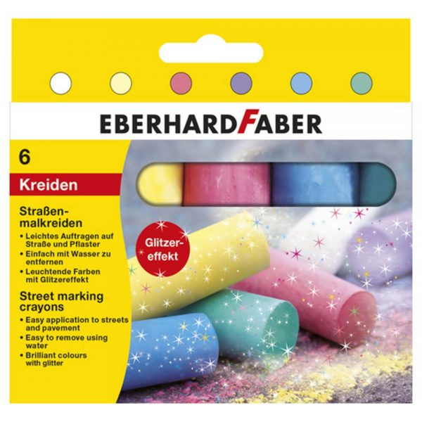 Creta colorata asfalt, 6 buc/cutie EBERHARD FABER, Glitter