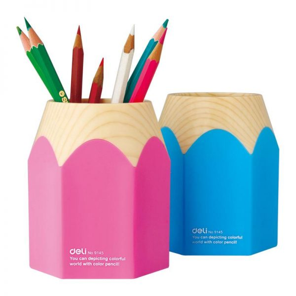 Suport Instrumente de scris Creion Roz/Bleu Deli 9145