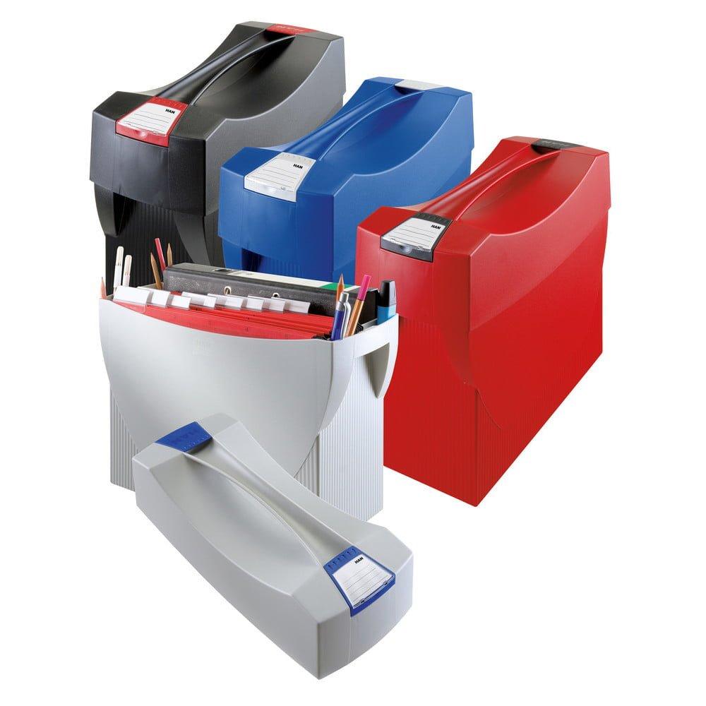 Suport plastic pentru 20 dosare suspendabile, cu capac, HAN Swing Plus