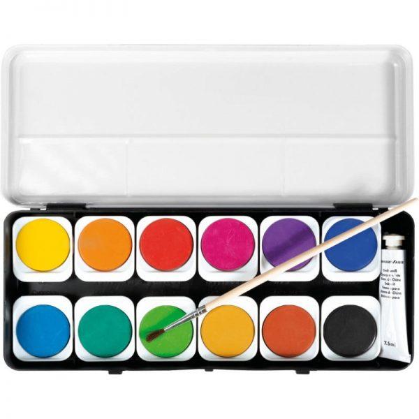 Acuarele 12 culori detasabile + pensula Eberhard Faber