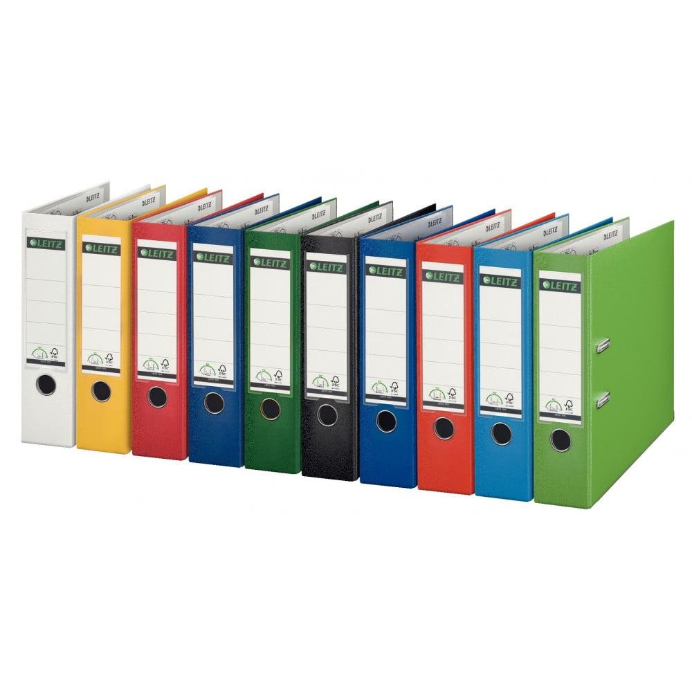 Biblioraft LEITZ 180, A4, plastifiat PP, margine metalica 80 mm