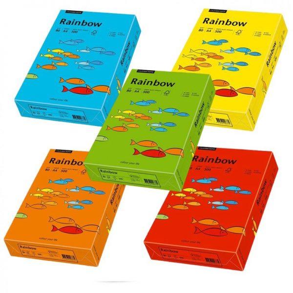 Hartie A4 colorata, 80 g/mp, Rainbow, 500 coli/top, culori intense