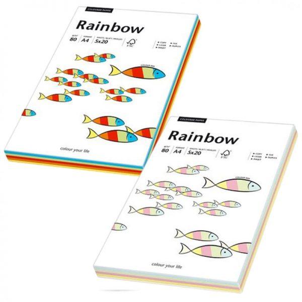 Hartie A4 colorata mix, 80 g/mp, Rainbow, 100 coli/top