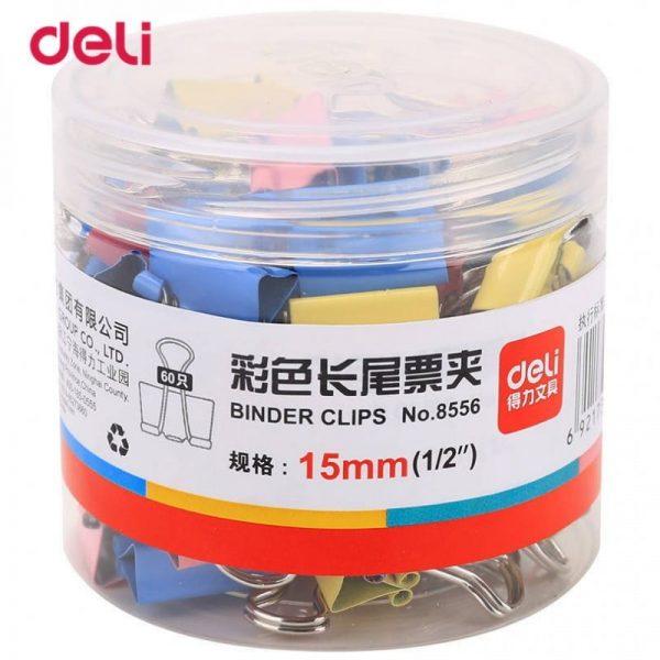 Clips hartie color 15mm 60 buc/cutie Deli