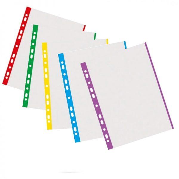 Folie protectie transparenta, cu margine color, 40 microni, 100 folii/set, DONAU