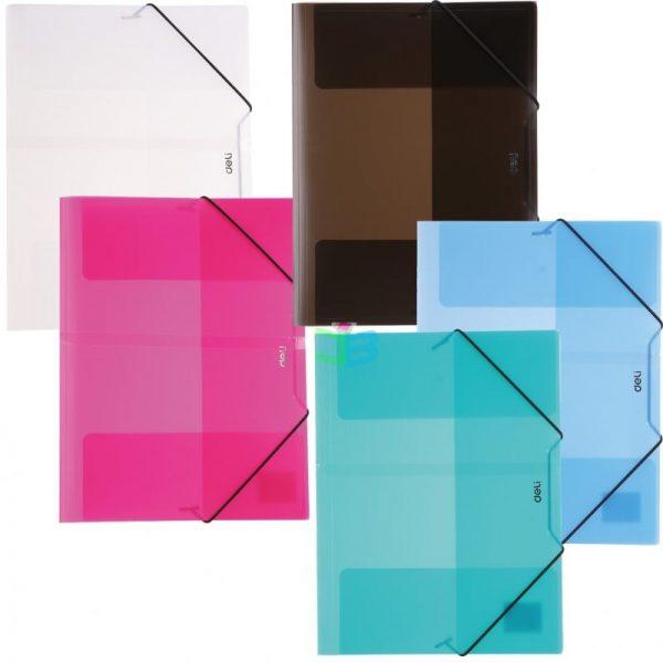 Mapa plastic cu elastic diverse culori translucide Deli