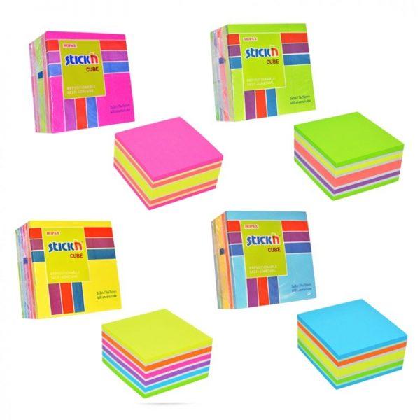 """Cub notite autoadeziv 76 x 76 mm, 400 file, Stick""""n - culori asortate"""