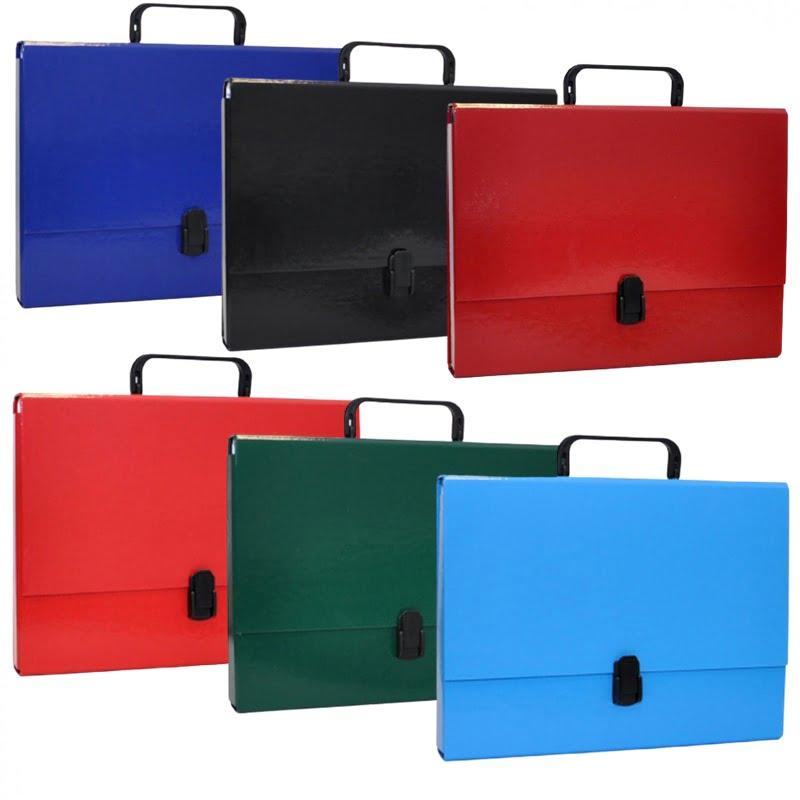Servieta din carton laminat, A4/5cm, cu inchidere si maner, Office Products