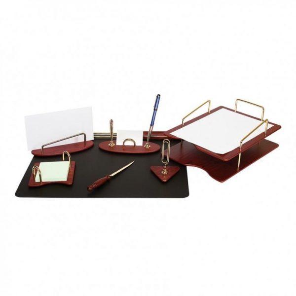 Set lux de birou din lemn visiniu 7 piese Forpus