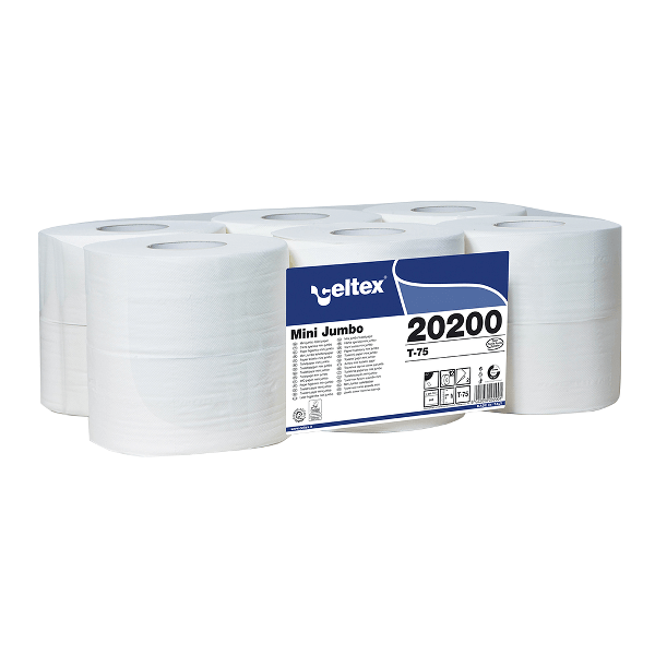 Hartie igienica mini jumbo Celtex 20200, 2 straturi, alba, 120 m, 12 role/set