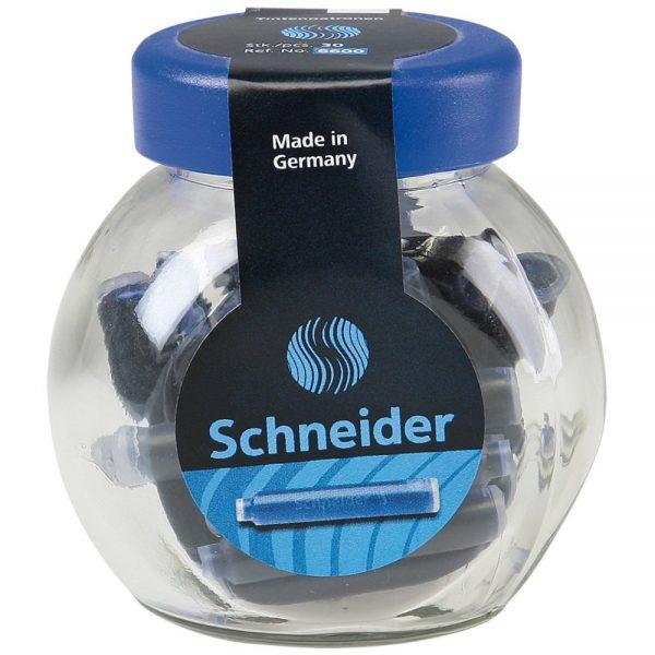 Patroane cerneala SCHNEIDER, 30buc/borcan - albastru royal