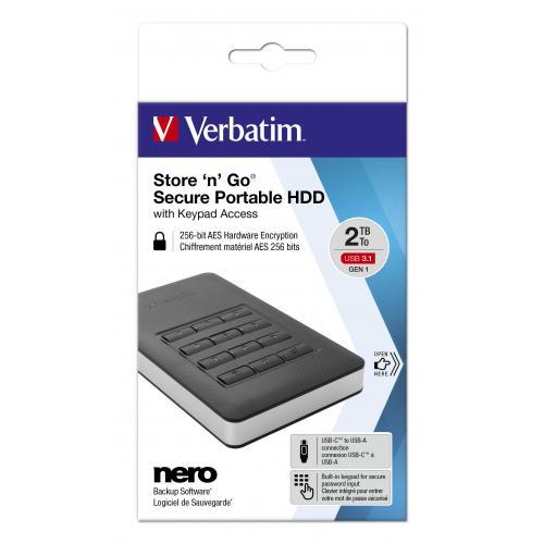 HDD portabil Verbatim Secure tastatura incorporata USB 3.1 GEN 1 2TB Black, negru, memorie flash