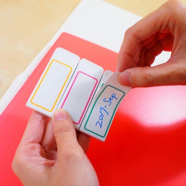 Etichete autoadezive albe, margine color, 18x44 mm, 4x120 buc/set, STICK'N