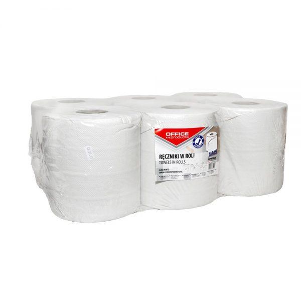 Rola prosop hartie alba, 120m - 2 straturi, 6 buc/bax, Office Products Maxi - hartie reciclata