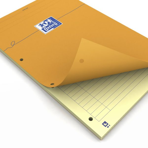 Blocnotes A4+, OXFORD Orange, 80 file galbene - 80g/mp, Scribzee, 4 perf, coperta carton - dictando