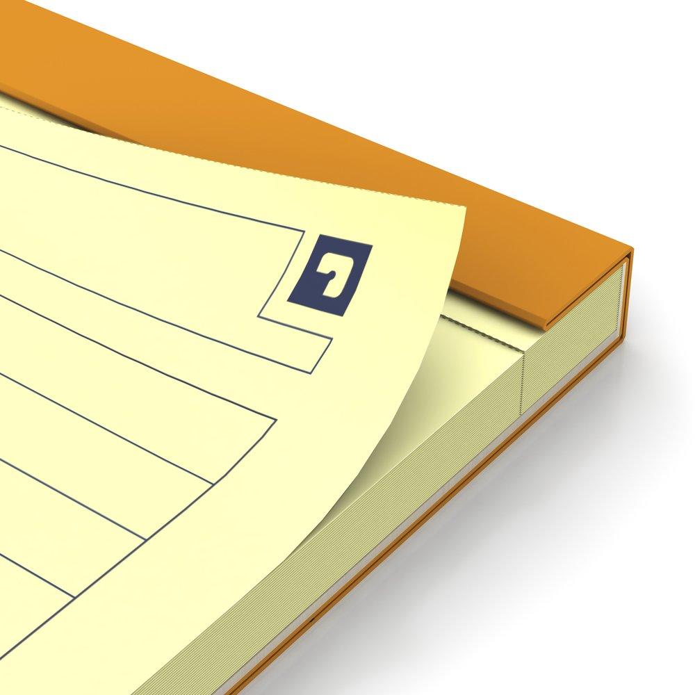 Blocnotes A4+, OXFORD Orange, 80 file galbene - 80g/mp, Scribzee, 4 perf, coperta carton - dictando
