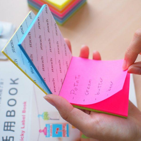 "Notes autoadeziv 76 x 76 mm, 100 file, Stick""n Magic Notes - 4 culori neon"