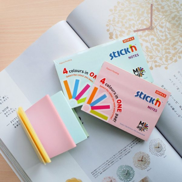 "Notes autoadeziv 76 x 127 mm, 100 file, Stick""n Magic Notes - 4 culori pastel"