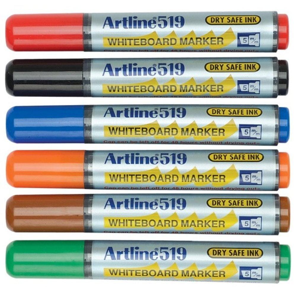 Marker pentru tabla ARTLINE 519 - Dry safe ink, varf tesit 2.0-5.0mm, 6 culori/set