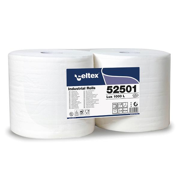 Lavete industriale Celtex 52501, 2 straturi, alb, 2 role/set
