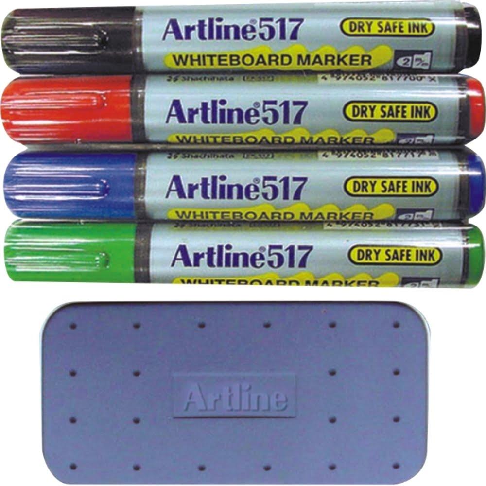 Set 4 markere pentru tabla magnetica+1 burete magnetic Artline 517
