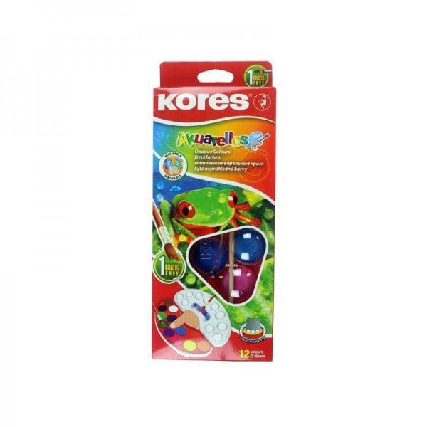 Acuarele 12 culori 30 mm cu pensula, Akuarellos KORES