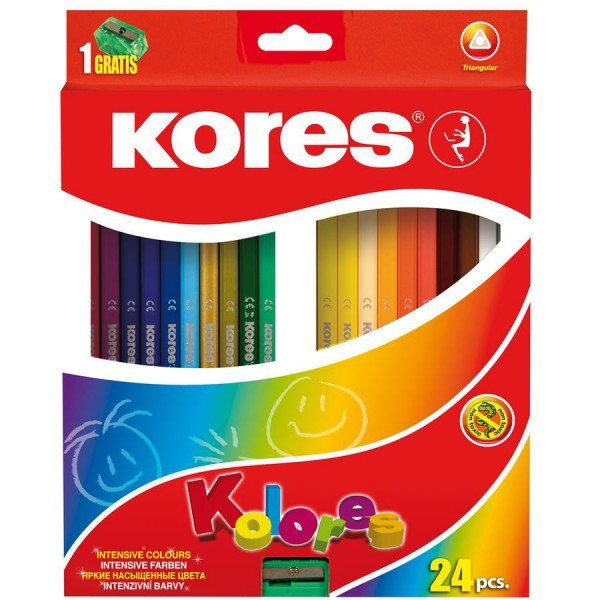 Creioane colorate triunghiulare KORES cu ascutitoare inclusa